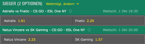 CSGO ESL One NY 2016 betting odds at bet365