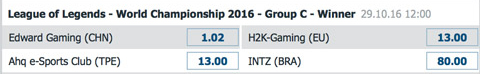 Gewinner Gruppe C Gruppenphase LoL WM 2016 von Bet at Home