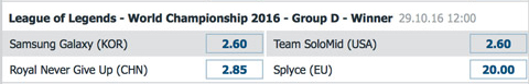 Gewinner Gruppe D Gruppenphase LoL WM 2016 von Bet at Home