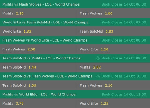 Gruppe D Wettquoten LoL WM 2017 Bet365