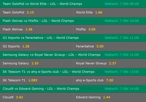Gruppenphase1 Tag3 Wettquoten LoL WM 2017 Bet365