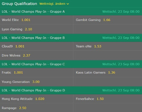 Gruppenqualifikation LoL WM 2017 Bet365