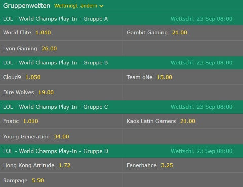 Gruppenwetten LoL WM 2017 Bet365