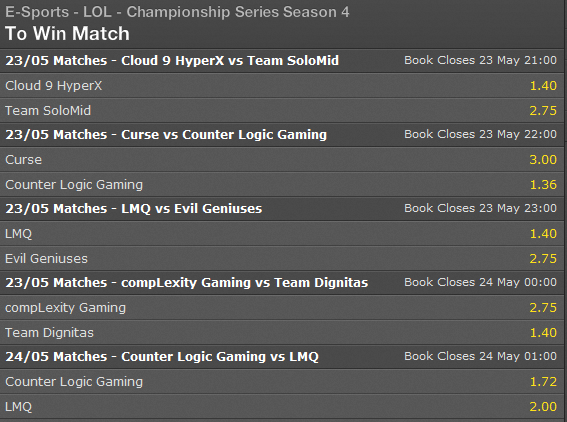 LCS NA Summer Split Super Week 1 Day 1 Spielplan und Wettquoten - Bet365