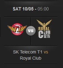 Logos der Finalteams der League of Legends WM 2013: Sk Telecom und Royal Club