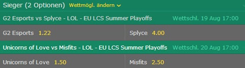 Match Sieger LoL Wettquoten EU LCS 2017 Summer Playoffs