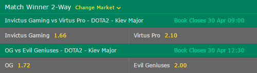 Semifinals Kiev Major 2017 Betting Odds on Bet365