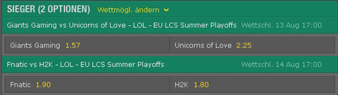 Spielplan und Quoten Playoffs Viertelfinale EU LCS Summer Split 2016 bet365