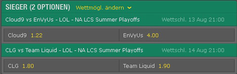 Spielplan und Quoten Playoffs Viertelfinale NA LCS Summer Split 2016 bet365