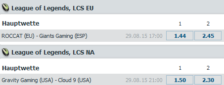 Spielplan und Quoten Runde 1 LCS Regional Qualifikation - bet-at-home