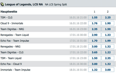 Spielplan und Quoten Week 1 LCS NA Spring Split 2016 - Bet at Home