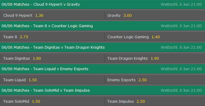 Spielplan und Quoten Week 2 Tag 1 LCS NA Summer Split 2015 - Bet365