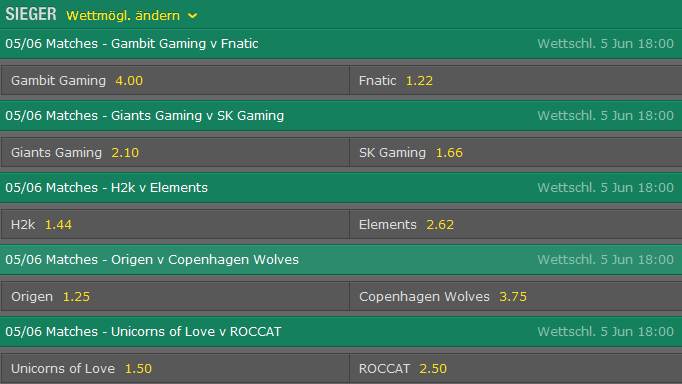 Spielplan und Quoten Week 2 Tag 2 LCS EU Summer Split 2015 - Bet365