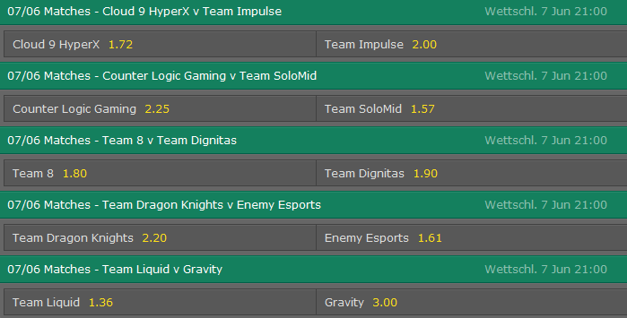 Spielplan und Quoten Week 2 Tag 2 LCS NA Summer Split 2015 - Bet365