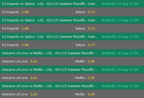 Teams erzielt die meisten Kills LoL Wettquoten EU LCS 2017 Summer Playoffs