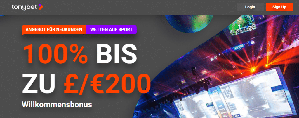 Tonybet DE esports welcome offer 100% up to €200