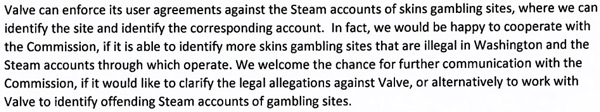 Washington State Gambling Commission Valve CSGO Skin Gambling Cease Desist