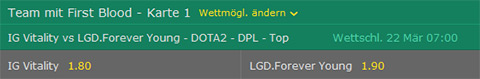 firstblood wettquoten bet365 dota2