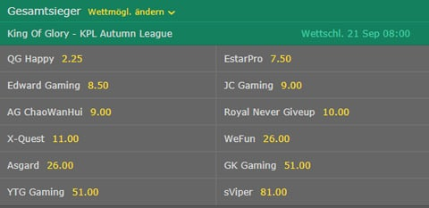king of glory kpl autumn league gesamtsieger wettquoten bet365